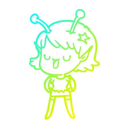 cold gradient line drawing of a happy alien girl cartoon Stock fotó - 129507450
