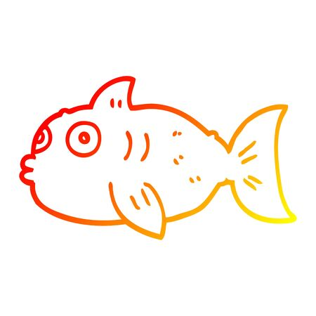 warm gradient line drawing of a cartoon surprised fish Illusztráció