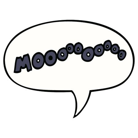 cartoon moo noise with speech bubble