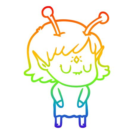 rainbow gradient line drawing of a cartoon alien girl