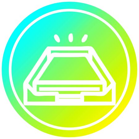 low office paper stack circular icon with cool gradient finish