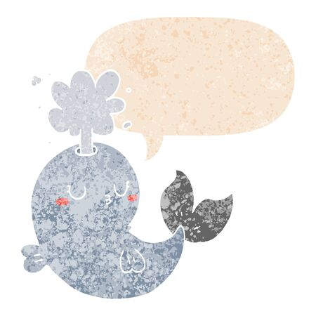 cartoon whale spouting water with speech bubble in grunge distressed retro textured style Illustration