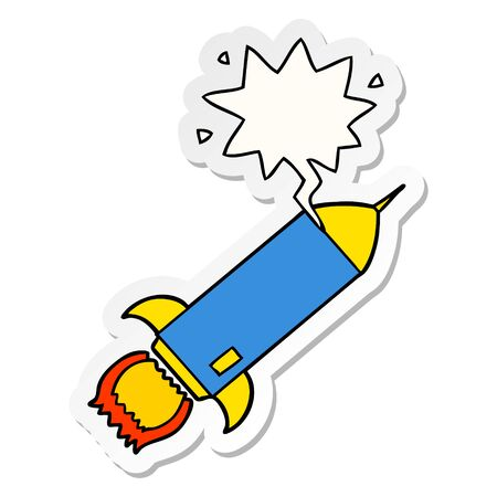 cartoon rocket with speech bubble sticker