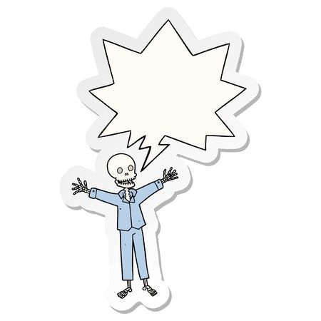 cartoon skeleton wearing pajamas with speech bubble sticker Фото со стока - 129507213