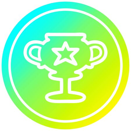 trophy cup circular icon with cool gradient finish Stock fotó - 129507465
