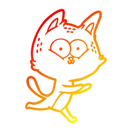 warm gradient line drawing of a cartoon cat running