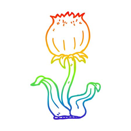 rainbow gradient line drawing of a cartoon wild flower Stock fotó - 129507470