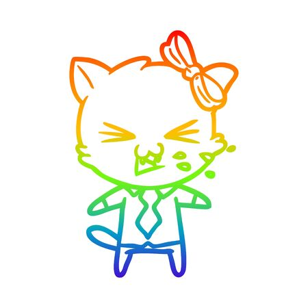 rainbow gradient line drawing of a cartoon cat Illusztráció