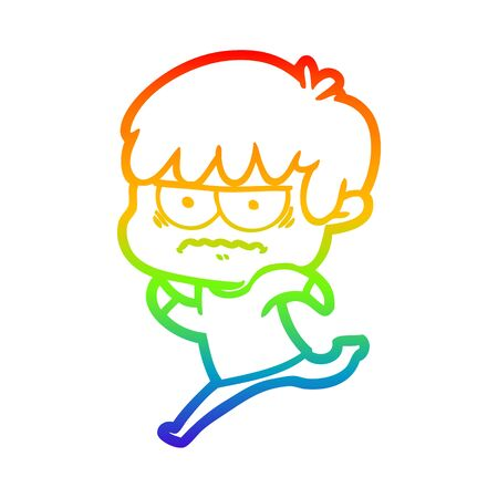 rainbow gradient line drawing of a annoyed cartoon boy Illusztráció