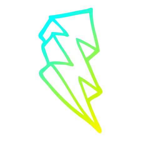 cold gradient line drawing of a cartoon lightning bolt symbol