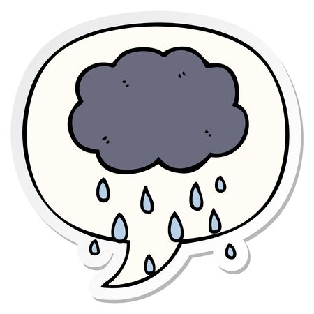 cartoon cloud raining with speech bubble sticker Illusztráció