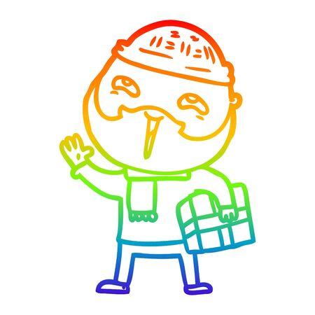 rainbow gradient line drawing of a cartoon happy bearded man Stock fotó - 129507395
