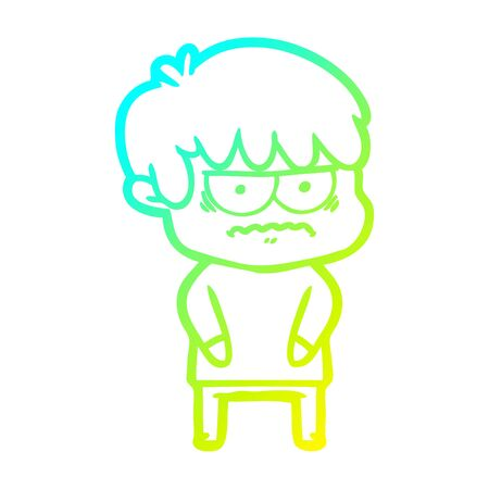 cold gradient line drawing of a annoyed cartoon boy