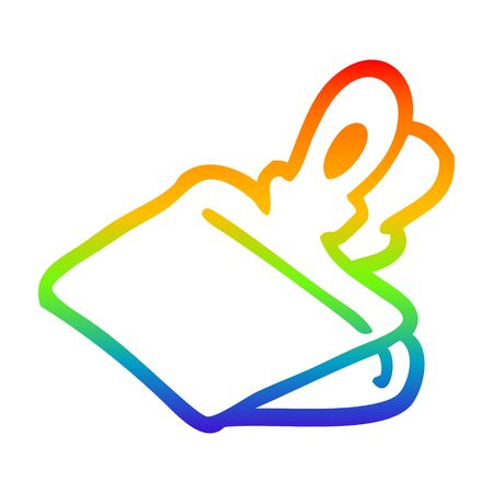 rainbow gradient line drawing of a cartoon paper clip