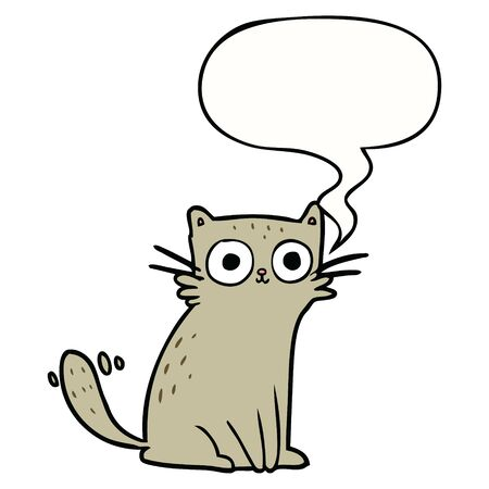 cartoon staring cat with speech bubble