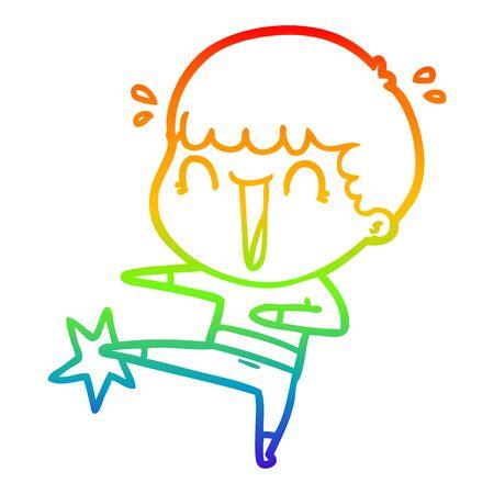 rainbow gradient line drawing of a laughing cartoon man karate kicking