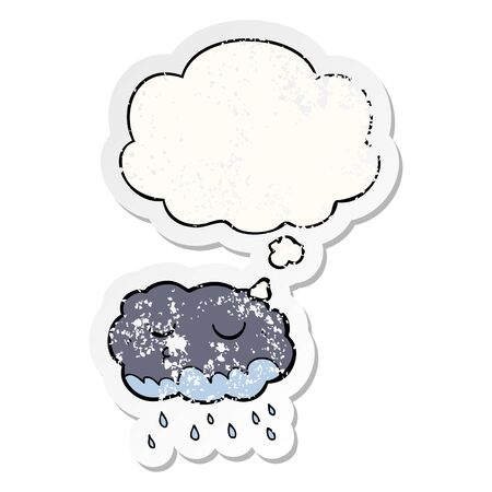 cartoon rain cloud with thought bubble as a distressed worn sticker