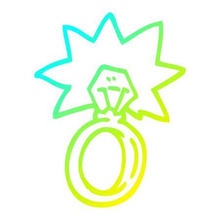 Dibujo de la línea de gradiente en frío de un anillo de compromiso de dibujos animados