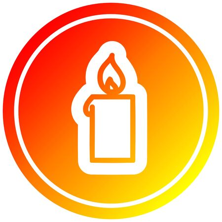 burning candle circular icon with warm gradient finish Illusztráció