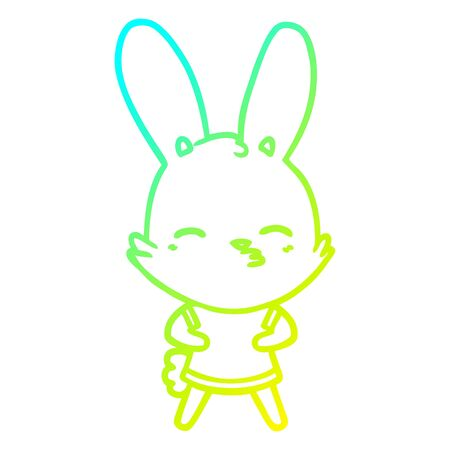 cold gradient line drawing of a curious bunny cartoon