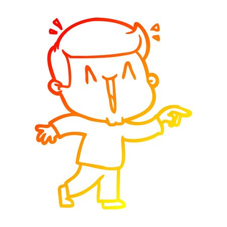 warm gradient line drawing of a cartoon excited man