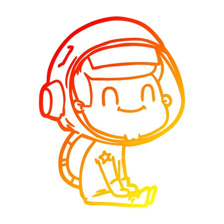 warm gradient line drawing of a happy cartoon astronaut