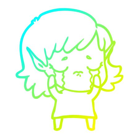 cold gradient line drawing of a cartoon crying elf girl Stock fotó - 129507406