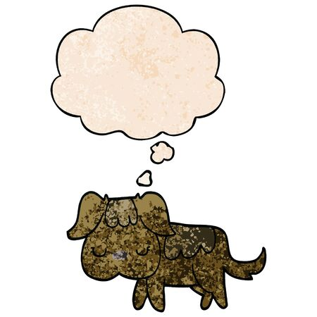 cartoon dog with thought bubble in grunge texture style