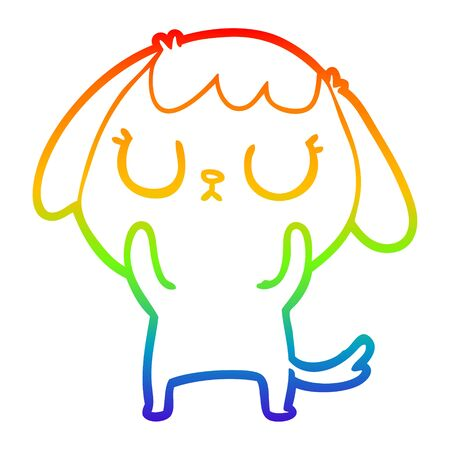 rainbow gradient line drawing of a cute cartoon dog Illusztráció
