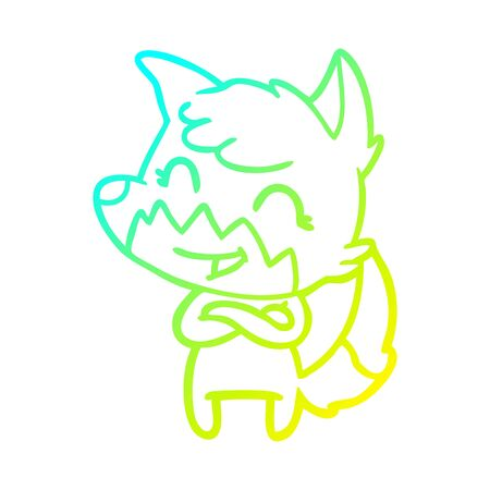 cold gradient line drawing of a happy cartoon fox Stock fotó - 129507293