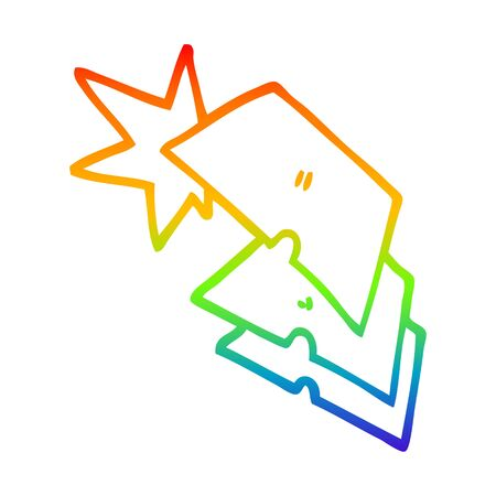 rainbow gradient line drawing of a cartoon shiny razorblades
