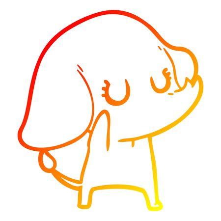 warm gradient line drawing of a cute cartoon elephant