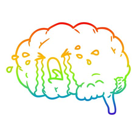 rainbow gradient line drawing of a cartoon brain crying