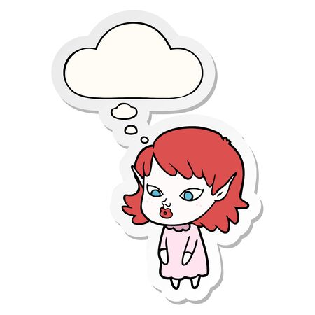 cartoon elf girl with pointy ears with thought bubble as a printed sticker