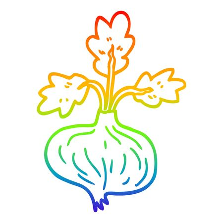 rainbow gradient line drawing of a cartoon old onion