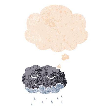 cartoon rain cloud with thought bubble in grunge distressed retro textured style
