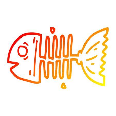 warm gradient line drawing of a cartoon fish bones Stockfoto - 129525554