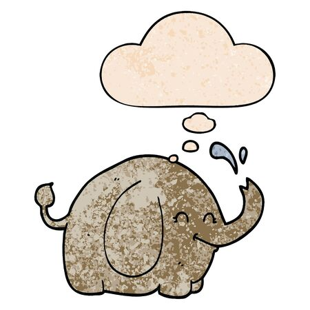 cartoon elephant with thought bubble in grunge texture style