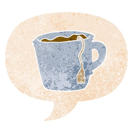cartoon hot cup of tea with speech bubble in grunge distressed retro textured style Vetores