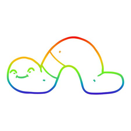 rainbow gradient line drawing of a cartoon worm