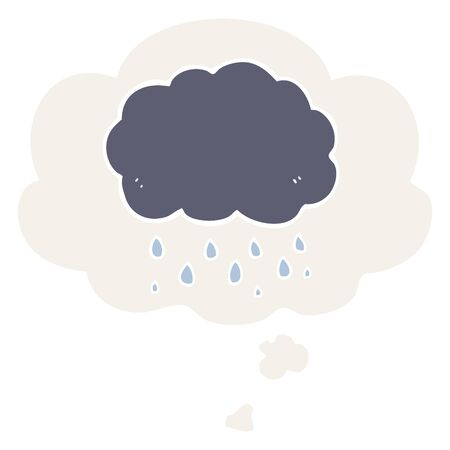 cartoon cloud raining with thought bubble in retro style