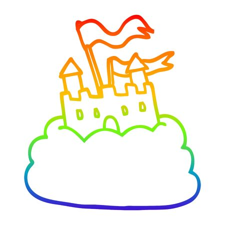 rainbow gradient line drawing of a cartoon castle on cloud