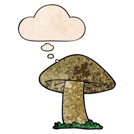 cartoon mushroom with thought bubble in grunge texture style
