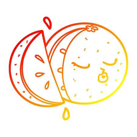 warm gradient line drawing of a cartoon orange
