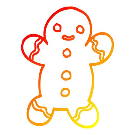 warm gradient line drawing of a cartoon gingerbread man
