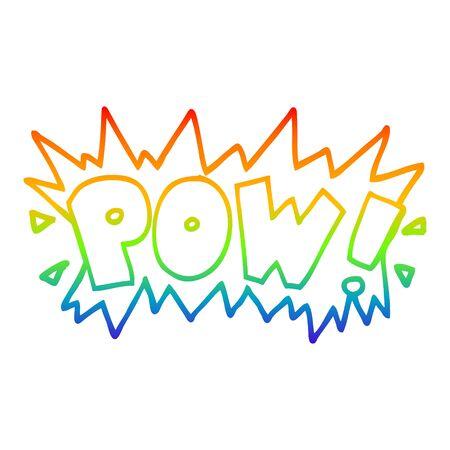 rainbow gradient line drawing of a cartoon word pow