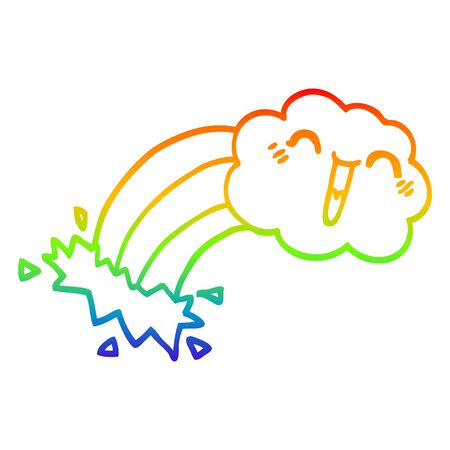 rainbow gradient line drawing of a cartoon rainbow rain cloud Standard-Bild - 129525652