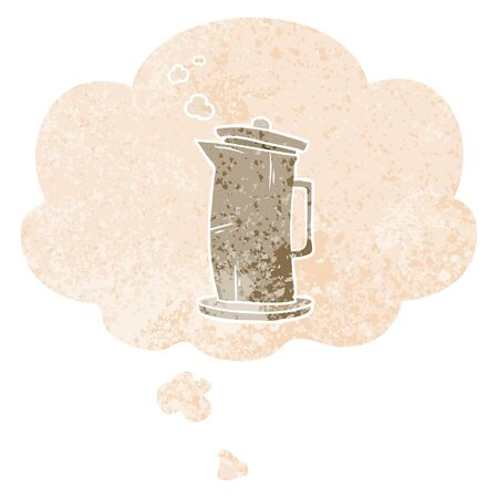 cartoon old kettle with thought bubble in grunge distressed retro textured style