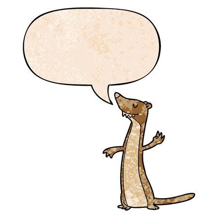 cartoon weasel with speech bubble in retro texture style Illustration