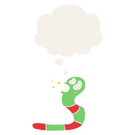 cartoon frightened worm with thought bubble in retro style